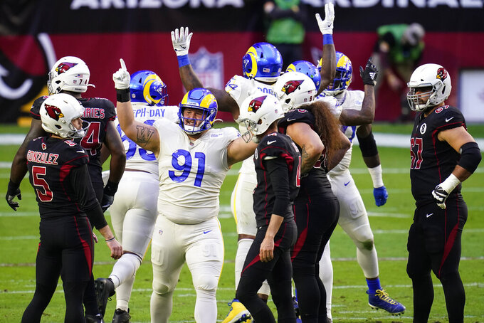 Los Angeles Rams defensive tackle Greg Gaines (91) cheers after Arizona Cardinals kicker Zane Gonzalez (5) missed a field goal during the first half of an NFL football game, Sunday, Dec. 6, 2020, in Glendale, Ariz. (AP Photo/Ross D. Franklin)