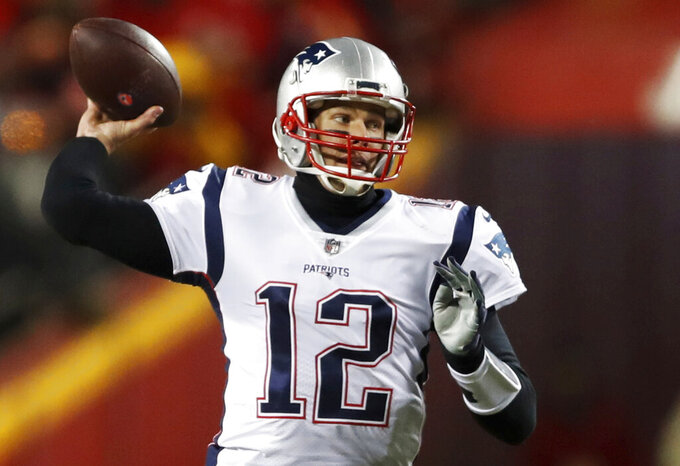 New England Patriots quarterback Tom Brady (12) throws a pass during the first half of the AFC Championship NFL football game against the Kansas City Chiefs, Sunday, Jan. 20, 2019, in Kansas City, Mo. (AP Photo/Jeff Roberson)
