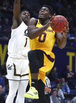 Arizona State's Luguentz Dort, right, shoots against California's Darius McNeill (1) during the first half of an NCAA college basketball game Wednesday, Jan. 9, 2019, in Berkeley, Calif. (AP Photo/Ben Margot)