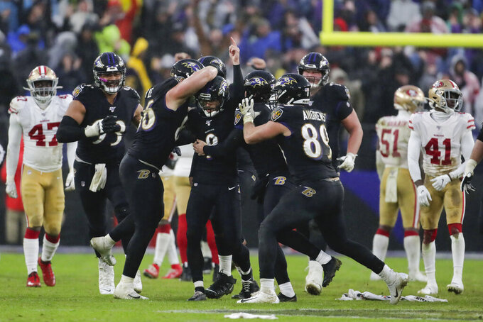 Baltimore Ravens kicker Justin Tucker (9) is surrounded by teammates after kicking the winning field goal against the San Francisco 49ers in the second half of an NFL football game, Sunday, Dec. 1, 2019, in Baltimore, Md. Ravens won 20-17. (AP Photo/Julio Cortez)