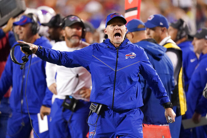 Buffalo Bills head coach Sean McDermott yells from the sidelines during the first half of an NFL football game against the Kansas City Chiefs Sunday, Oct. 10, 2021, in Kansas City, Mo. (AP Photo/Charlie Riedel)
