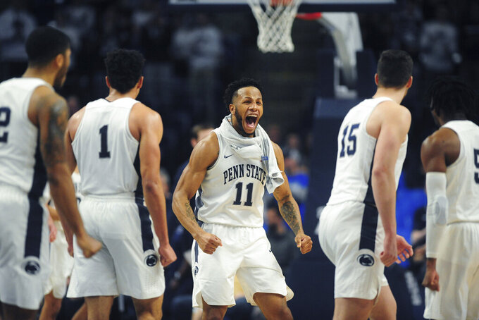 Penn State's Lamar Stevens (11) reacts during an NCAA college basketball game against  Ohio State, Saturday, Jan. 18, 2020, in State College, Pa. (AP Photo/Gary M. Baranec)