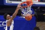 Pittsburgh's William Jeffress makes a dunk against St. Francis during the second half of an NCAA college basketball game, Wednesday, Nov. 25, 2020, in Pittsburgh. St. Francis won 80-70. (AP Photo/Keith Srakocic)