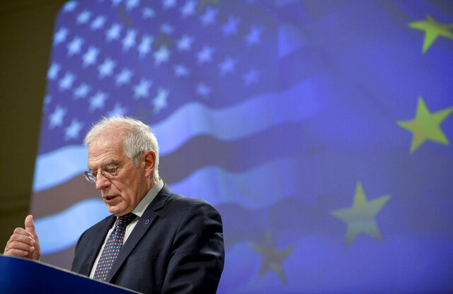European Union foreign policy chief Josep Borrell speaks during a media conference at EU headquarters in Brussels, Wednesday, Dec. 2, 2020. The European Union is grasping the imminent arrival of the incoming Biden administration as a key moment to reset relations with the United States after four years of acrimony under President Donald Trump. (Johanna Geron, Pool via AP)