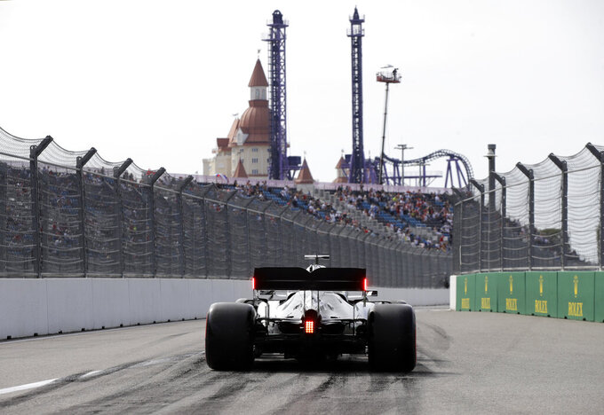 Mercedes driver Lewis Hamilton of Britain steers his car during the first free practice at the 'Sochi Autodrom' Formula One circuit, in Sochi, Russia, Friday, Sept. 27, 2019. The Formula one race will be held on Sunday. (AP Photo/Luca Bruno)