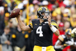 Iowa quarterback Nate Stanley throws a pass during the first half of an NCAA college football game against Purdue, Saturday, Oct. 19, 2019, in Iowa City, Iowa. (AP Photo/Charlie Neibergall)
