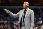 Memphis head coach Penny Hardaway calls to players in the first half of an NCAA basketball game against SMU Saturday, Jan. 25, 2020, in Memphis, Tenn. (AP Photo/Brandon Dill)