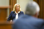 Illinois State Sen. Sue Rezin, R-Morris, gives her remarks on the omnibus energy bill on the floor of the Illinois Senate at the Illinois state Capitol in Springfield, Ill., Wednesday, Sept. 1, 2021. (Justin L. Fowler/The State Journal-Register via AP)
