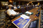 Jack Hill listens during a public hearing on the redistricting plan at the Statehouse, Thursday, Sept. 16, 2021, in Indianapolis. (AP Photo/Darron Cummings)