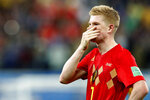 Belgium's Kevin De Bruyne reacts after the semifinal match between France and Belgium at the 2018 soccer World Cup in the St. Petersburg Stadium in, St. Petersburg, Russia, Tuesday, July 10, 2018. (AP Photo/Frank Augstein)