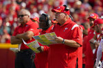 Kansas City Chiefs head coach Andy Reid watches from the sidelines during the first half of an NFL football game against the Cleveland Browns Sunday, Sept. 12, 2021, in Kansas City, Mo. (AP Photo/Ed Zurga)