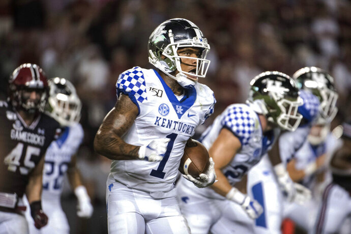 Kentucky wide receiver Lynn Bowden Jr. (1) runs with the ball against South Carolina during the second half of an NCAA college football game Saturday, Sept. 28, 2019, in Columbia, S.C. South Carolina defeated Kentucky 24-7. (AP Photo/Sean Rayford)