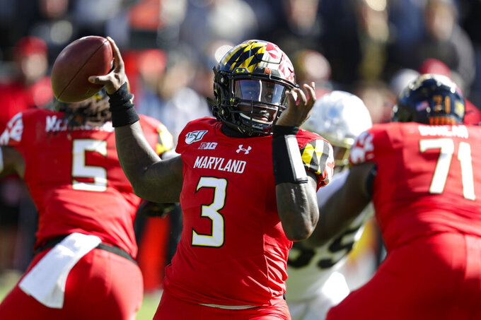 FILE - In this Saturday, Oct. 12, 2019, file photo ,Maryland quarterback Tyrrell Pigrome (3) throws against Purdue during the first half of an NCAA college football game in West Lafayette, Ind. The Terrapins will again start Tyrrell Pigrome at quarterback on Saturday against Indiana while Josh Jackson deals with a high ankle sprain he sustained two weeks ago at Rutgers. (AP Photo/Michael Conroy, File)