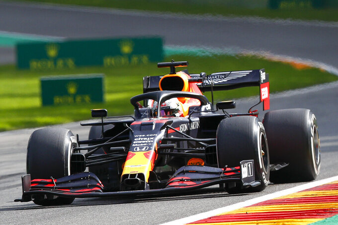Red Bull driver Max Verstappen of the Netherlands steers his car during the Formula One Grand Prix at the Spa-Francorchamps racetrack in Spa, Belgium, Sunday, Aug. 30, 2020. (Francois Lenoir/Pool Photo via AP)