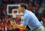 Nevada coach Eric Musselman yells during the second half of the team's NCAA college basketball game against UNLV, Tuesday, Jan. 29, 2019, in Las Vegas. Nevada won 87-70. (AP Photo/John Locher)