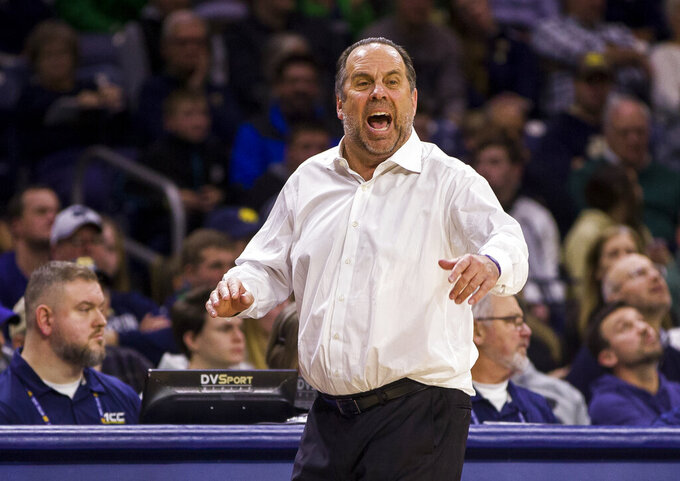 Notre Dame head coach Mike Brey yells to his players during the second half of an NCAA college basketball game against Wake Forest on Wednesday, Jan. 29, 2020, in South Bend, Ind. Notre Dame won 90-80. (AP Photo/Robert Franklin)