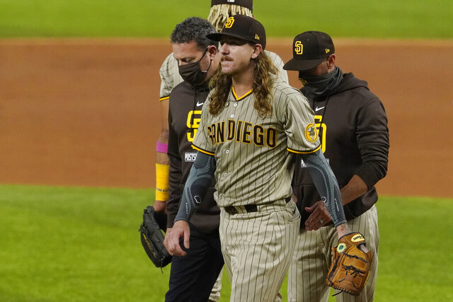San Diego Padres starting pitcher Mike Clevinger leaves the game with an injury during the second inning in Game 1 of a baseball NL Division Series against the Los Angeles Dodgers, Tuesday, Oct. 6, 2020, in Arlington, Texas. (AP Photo/Tony Gutierrez)