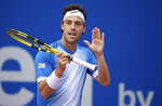 Marco Cecchinato of Italy reacts during his semifinal match against Cristian Garin of Chile at the ATP tennis tournament in Munich, Germany, Saturday, May 4, 2019. (Sven Hoppe/dpa via AP)