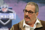 FILE - In this Feb. 27, 2019, file photo, New York Giants general manager Dave Gettleman speaks during a press conference at the NFL football scouting combine in Indianapolis. The NFL Draft will be April 23-25, 2020. (AP Photo/Michael Conroy, File)