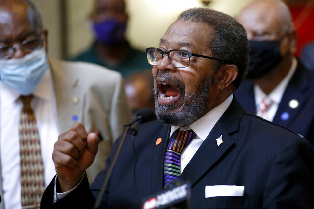 CORRECTS SPELLING OF NAME TO ISIAC NOT ISAAC General Missionary Baptist State Convention of Mississippi president Rev. Isiac Jackson calls for a change in the Mississippi state flag, Thursday, June 25, 2020, during a news conference at the Capitol in Jackson, Miss. A large number of Black pastors lobbied their legislators, calling on them to strike the current flag. The current flag has in the canton portion of the banner the design of the Civil War-era Confederate battle flag, that has been the center of a long-simmering debate about its removal or replacement. (AP Photo/Rogelio V. Solis)