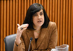 FILE - In this Feb. 11, 2019, file photo, Assemblywoman Nicole Malliotakis, R-Staten Island, questions New York City Mayor Bill de Blasio during a joint legislative budget hearing on local government, in Albany, N.Y. After mail-in ballots were counted in her district, Malliotakis was chosen by Republicans to run in New York's 11th Congressional District, setting her up for a showdown with Democratic U.S. Rep. Max Rose in the fall. (AP Photo/Hans Pennink, File)