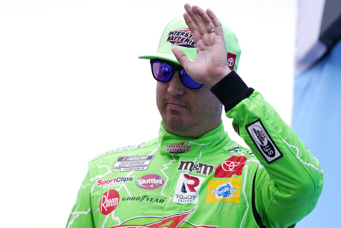Kyle Busch at a NASCAR Cup Series auto race, Sunday, July 18, 2021, in Loudon, N.H. (AP Photo/Charles Krupa)
