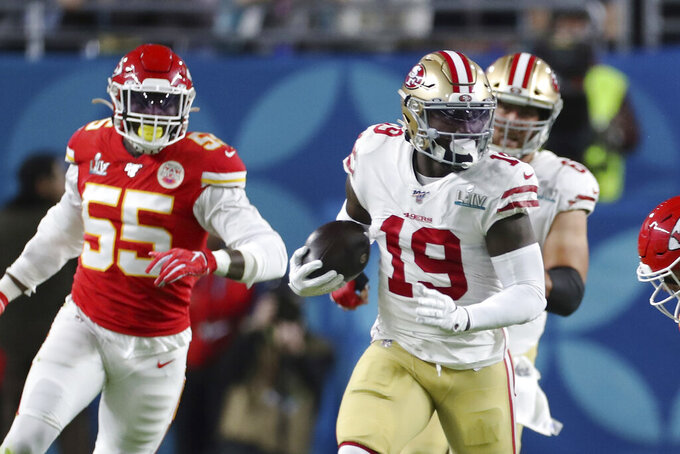 FILE - In this Feb. 2, 2020, file photo, San Francisco 49ers wide receiver Deebo Samuel (19) tries to break free against the Kansas City Chiefs in Super Bowl 54 in Miami Gardens, Fla. The Chiefs defeated the 49ers 31-20. (AP Photo/Doug Benc, File)