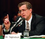 FILE - National Football League Commissioner Paul Tagliabue gestures while testifying on Capitol Hill before the Senate subcommittee on Antitrust, Business Rights, and Competition hearing on relocation of professional sports franchises, in this Wednesday, Nov. 29, 1995, file photo. Tagliabue's 17-year stint as commissioner, the NFL experienced labor peace, saw skyrocketing television deals, construction of new stadiums across the nation, and expansion to the current 32-team makeup. Despite those credentials that continued pro football's surge to the top of American sports, it took until a special centennial class in 2020 for Tagliabue to be voted into the Pro Football Hall of Fame after retiring in 2006. (AP Photo/Doug Mills, File)