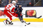 Columbus Blue Jackets' Nathan Gerbe, right, passes the puck in front of Detroit Red Wings' Filip Hronek during the second period of an NHL hockey game Tuesday, April 27, 2021, in Columbus, Ohio. (AP Photo/Jay LaPrete)