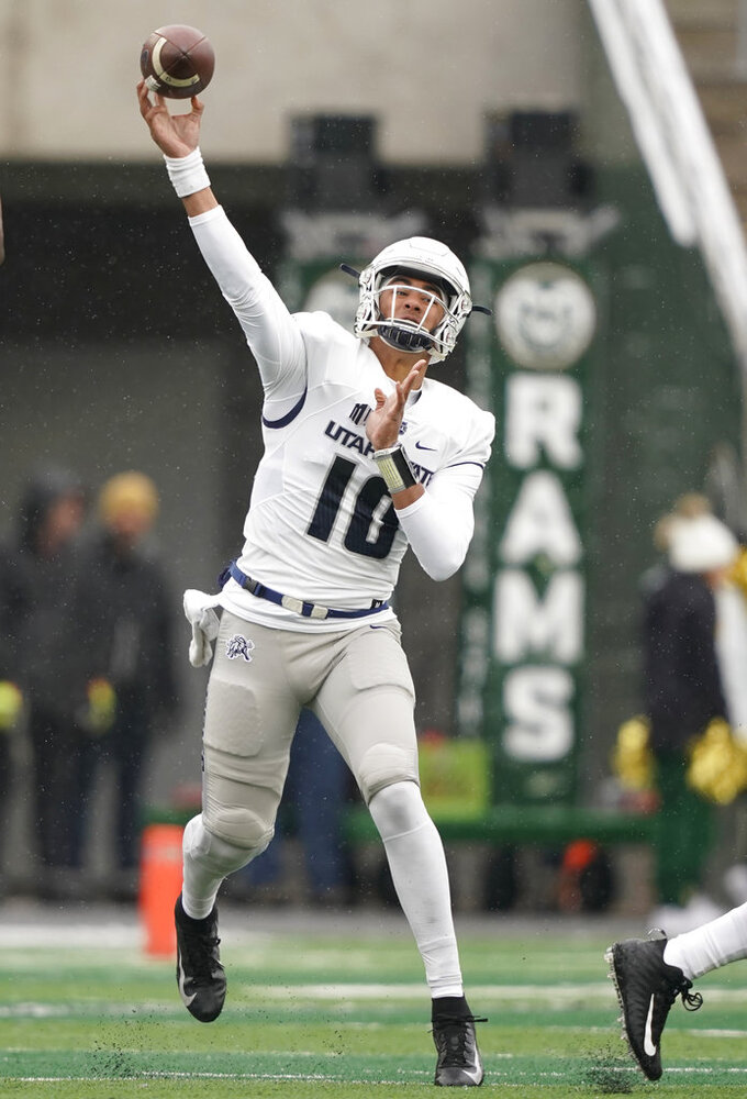 Utah State quarterback Jordan Love throws against Colorado State during the first half of an NCAA football game Saturday, Nov. 17, 2018, in Fort Collins, Colo. (AP Photo/Jack Dempsey)