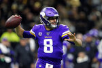 Minnesota Vikings quarterback Kirk Cousins (8) drops back to pass as he throws a pass that was fumbled and recovered by the New Orleans Saints in the first half of an NFL wild-card playoff football game, Sunday, Jan. 5, 2020, in New Orleans. (AP Photo/Gerald Herbert)