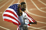 US' Noah Lyles celebrates after winning the Men's 200m during the Diamond League Memorial Van Damme athletics event at the King Baudouin stadium in Brussels, Friday, Sept. 6, 2019. (AP Photo/Francisco Seco)