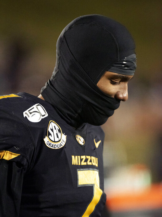 Missouri quarterback Kelly Bryant stands on the sideline during the final minute of the fourth quarter of an NCAA college football game against Tennessee, Saturday, Nov. 23, 2019, in Columbia, Mo. Tennessee won 24-20. (AP Photo/L.G. Patterson)