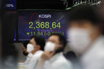 Currency traders watch computer monitors near a screen showing the Korea Composite Stock Price Index (KOSPI) at the foreign exchange dealing room in Seoul, South Korea, Thursday, Oct. 15, 2020. Asian stocks followed Wall Street lower on Thursday as hopes U.S. leaders will agree on a new economic stimulus before the Nov. 3 presidential election faded. (AP Photo/Lee Jin-man)