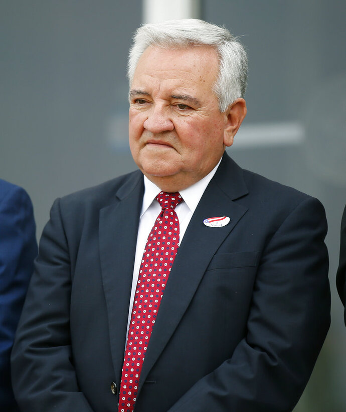 FILE - In this Sept. 12, 2017 file photo, Dave Lopez, Oklahoma Secretary of State, is pictured in Oklahoma City. Lopez has submitted his letter of resignation. (AP Photo/Sue Ogrocki)