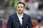 Former Arizona Cardinals quarterback Carson Palmer speaks after being added to the Cardinals ring of honor at half time of an NFL football game against the Seattle Seahawks, Sunday, Sept. 29, 2019, in Glendale, Ariz. (AP Photo/Ross D. Franklin)