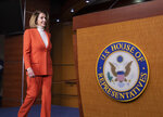 House Minority Leader Nancy Pelosi, D-Calif., arrives to face reporters at a news conference at the Capitol in Washington, Thursday, Nov. 15, 2018. (AP Photo/J. Scott Applewhite)