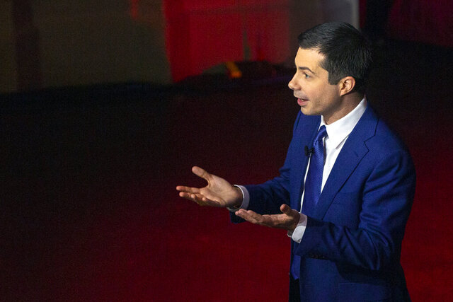 Democratic presidential candidate and former South Bend Mayor Pete Buttigieg takes questions from students at the USC Dornsife Center for the Political Future town hall in Los Angeles Thursday, Feb. 20, 2020. (AP Photo/Damian Dovarganes)