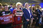 CORRECTS SPELLING TO FRUMAN, NOT FURMAN - FILE- In this Nov. 6, 2018 file photo, supporters of Florida gubernatorial candidate Ron DeSantis wait for results at his election party in Orlando, Fla. Standing in the middle of the front row is Lev Parnas. Parnas and his associate Igor Fruman are facing federal charges in connection to efforts by President Donald Trump's lawyer, Rudy Giuliani, to launch a Ukrainian corruption investigation against Joe Biden and his son, Hunter.  (AP Photo/Phelan M. Ebenhack, File)