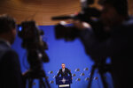 NATO Secretary General Jens Stoltenberg talks to journalists during a news conference at NATO headquarters in Brussels, Tuesday, Nov. 19, 2019. The presser is ahead of a meeting of NATO Foreign Ministers to focus on defense spending, terrorism, and continued tense ties with Russia. (AP Photo/Francisco Seco)