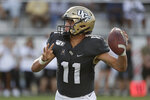 Central Florida quarterback Dillon Gabriel throws a 1-yard touchdown pass against Stanford during the second half of an NCAA college football game, Saturday, Sept. 14, 2019, in Orlando, Fla. (AP Photo/John Raoux)