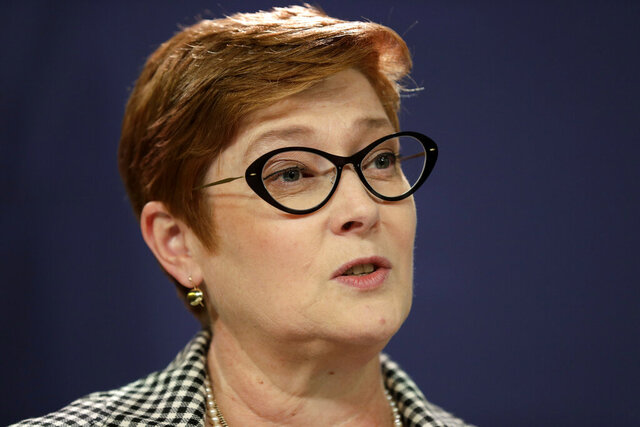 FILE - In this Oct. 4, 2019, file photo, Australian Foreign Minister Marise Payne holds a press conference following the Australia-New Zealand Foreign Minister Consultations in Sydney. Payne on Monday, Dec. 2, 2019, was