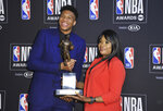 NBA player Giannis Antetokounmpo, of the Milwaukee Bucks, winner of the most valuable player award, left, and mother Veronica Antetokounmpo pose in the press room at the NBA Awards on Monday, June 24, 2019, at the Barker Hangar in Santa Monica, Calif. (Photo by Richard Shotwell/Invision/AP)