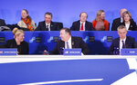 Secretary of State Mike Pompeo, center, looks over to Britain's Ambassador to NATO Sarah MacIntosh, left, after NATO's Secretary General Jen Stoltenberg's, far right, during opening remarks at the Meeting of the North Atlantic Council in Foreign Ministers' Session 1 at the U.S. State Department in Washington, Thursday, April 4, 2019. (AP Photo/Pablo Martinez Monsivais)