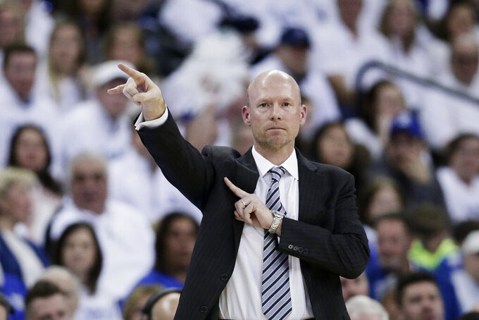 Seton Hall coach Kevin Willard calls a play during the first half of an NCAA college basketball game against Creighton in Omaha, Neb., Saturday, March 7, 2020. (AP Photo/Nati Harnik)