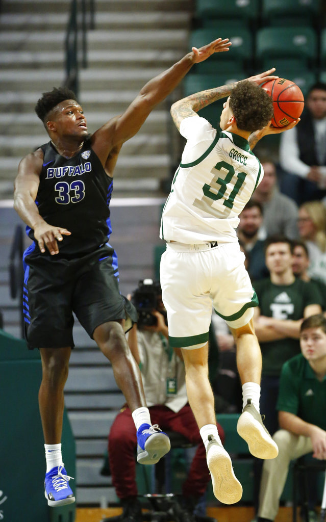 Eastern Michigan forward Ty Groce (31) tries to take a shot against Buffalo forward Nick Perkins (33) during the first half of an NCAA college basketball game Friday, Jan. 4, 2019, in Ypsilanti, Mich. (AP Photo/Duane Burleson)