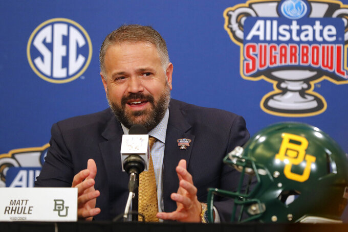 Baylor head coach Matt Rhule talks to reporters during a Sugar Bowl NCAA college news conference in New Orleans, Tuesday, Dec. 31, 2019. Baylor plays Georgia on New Year's Day. (AP Photo/Gerald Herbert)