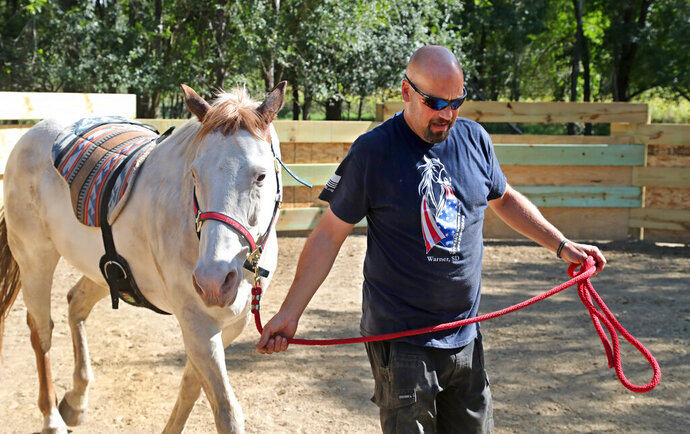 This photo taken Sept. 25, 2019, shows Chris Reder, of DTOM/22 Ranch, walking with Max, a therapy horse he uses to work with Veterans. (John Davis/Aberdeen American News via AP) **NOT AN AP PHOTO MEMBER**