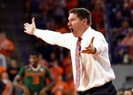 Clemson head coach Brad Brownell reacts during the first half of an NCAA college basketball game against Miami Saturday, Jan. 13, 2018, in Clemson, S.C. (AP Photo/Richard Shiro)