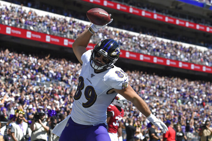 Baltimore Ravens tight end Mark Andrews celebrates after scoring a touchdown in the first half of an NFL football game against the Arizona Cardinals, Sunday, Sept. 15, 2019, in Baltimore. (AP Photo/Gail Burton)